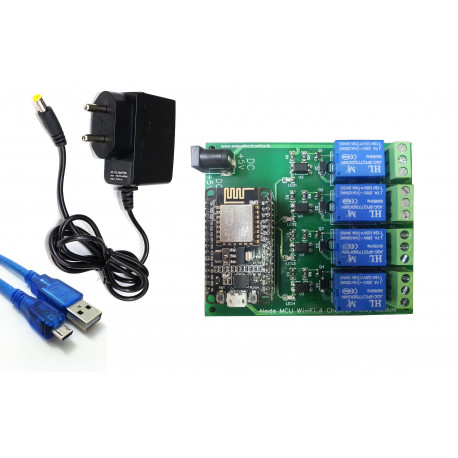 Combo of NodeMCU Based 4-Channel Relay Board Micro Controller Board Electronic + 5V 1 Amp Adaptor + USB Cable for Programming